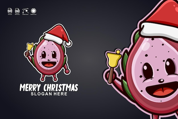 Owoc smoka wesołych świąt ładny projekt logo maskotki