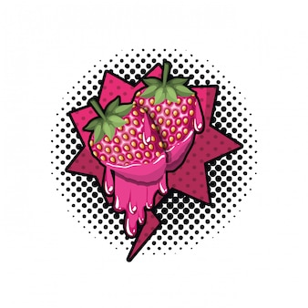 Owoc truskawka z dymek na białym tle ikona