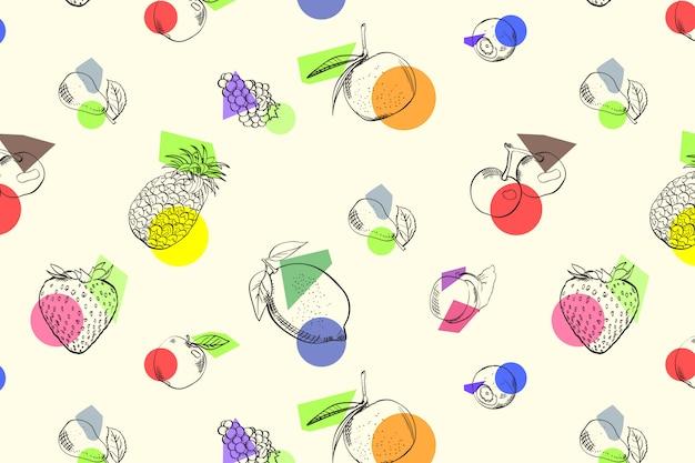 Owoce bez szwu doodle wzór stylu