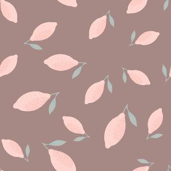 Owoce cytryny bezszwowe doodle wzór w prostym stylu. ręcznie rysowane różowe owoce tło. ilustracji. projekt wektor dla tekstyliów, tkanin, prezentów, tapet.