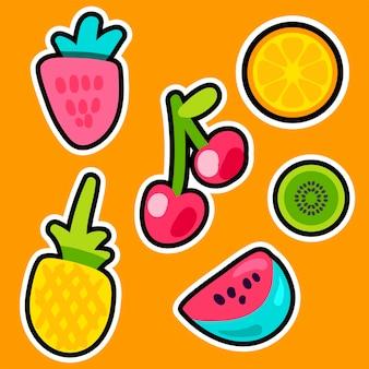 Owoce doodle zestaw naklejek kolorów. kolekcja plastrów ananasa, arbuza, kiwi, pomarańczy, wiśni