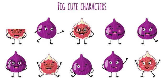 Owoce figowe słodkie zabawne wesołe postacie z różnymi pozami i emocjami