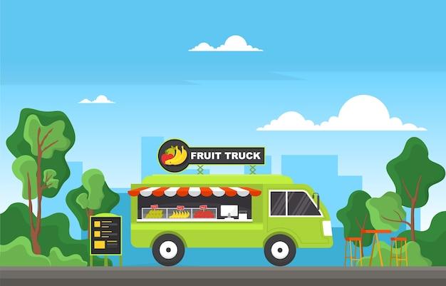 Owoce food truck van car vehicle street shop ilustracja