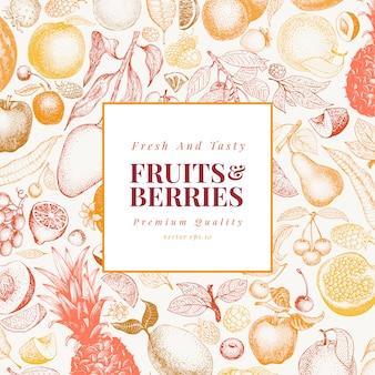Owoce i jagody ręcznie rysowane ilustracji wektorowych.