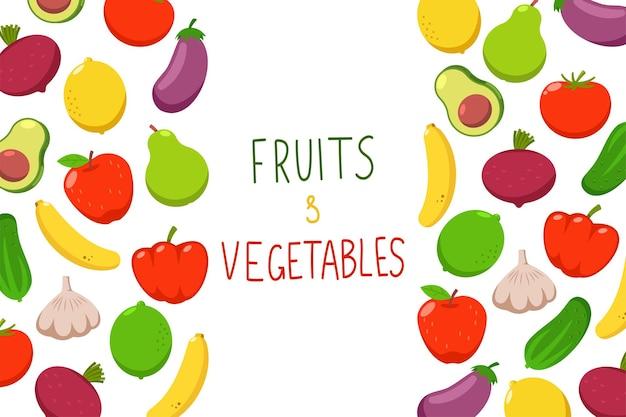 Owoce i warzywa kreskówka tło