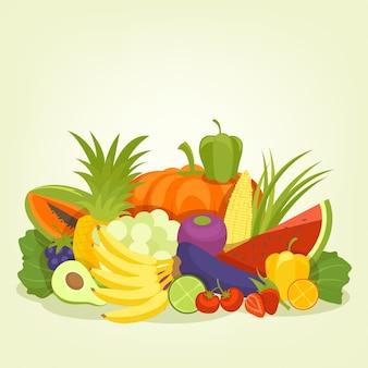 Owoce i warzywa w stylu tła