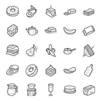 Owoce i wyroby piekarnicze ręcznie rysowane ikony pakiet