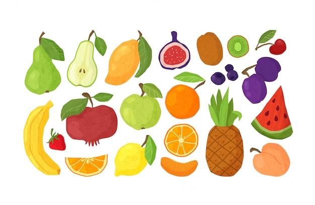 Owoce - jabłko, pomarańcza, granaty, ananas, kiwi, arbuz, figi pojedyncze elementy na białym tle