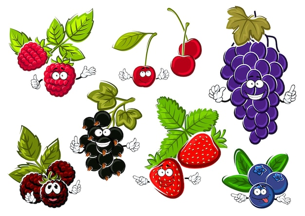 Owoce jagodowe ogrodowe szczęśliwe postacie. owoce czarnej porzeczki, truskawek, malin, winogron, jagód, wiśni i jeżyn
