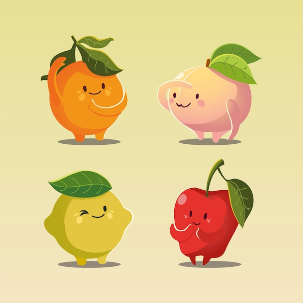 Owoce kawaii zabawna twarz szczęście jabłko brzoskwinia pomarańcza i cytryna ilustracji wektorowych