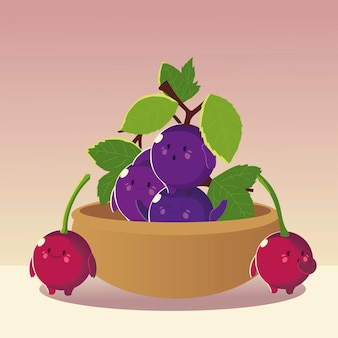 Owoce kawaii zabawna twarz szczęście słodkie winogrona i wiśnie w ilustracji wektorowych miski