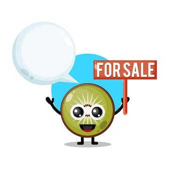 Owoce kiwi na sprzedaż urocza maskotka postaci