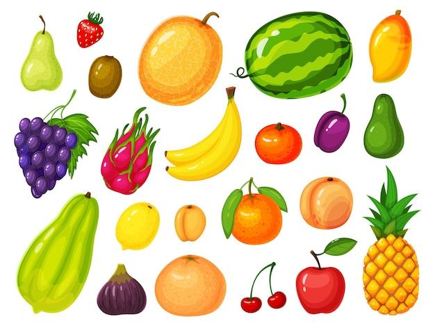 Owoce kreskówka na białym tle zestaw