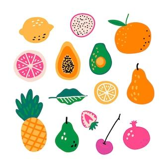 Owoce kreskówka ręcznie rysowane wektor zestaw.
