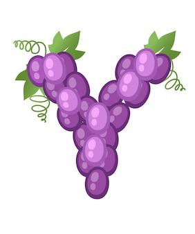 Owoce litera y winogron styl kreskówka owoc projekt płaski wektor ilustracja na białym tle