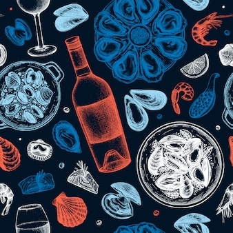 Owoce morza i wino wzór ilustracje. ręcznie rysowane skorupiaki - małże, ostrygi, krewetki, kawior, szkice ryb. idealny na przepis, menu, dostawę, opakowanie. tło kuchni śródziemnomorskiej