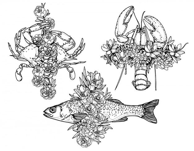 Owoce morza krewetki kraba ryby i kwiaty restauracja menu szablon ręka rysunek