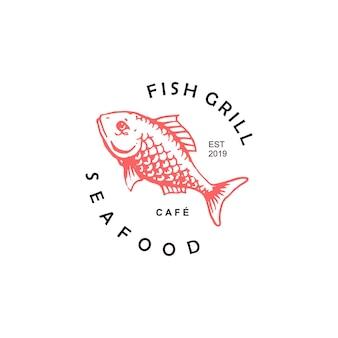 Owoce morza logo ryba wektor prosta okrągła odznaka