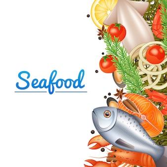 Owoce morza menu tło z ryby stek homar i przyprawy