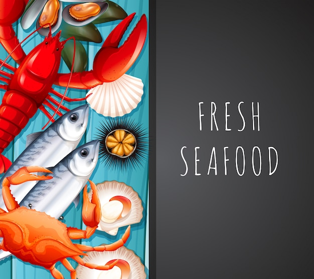 Owoce morza na szablon restauracji