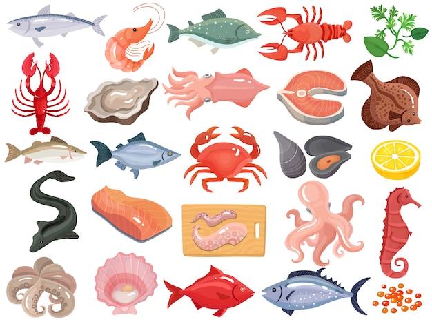 Owoce morza płaskie ikony duży zestaw