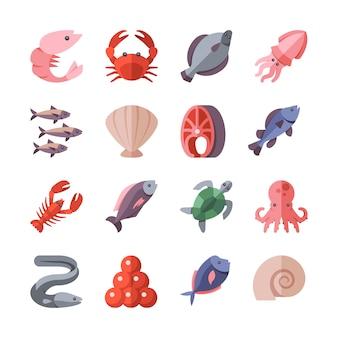 Owoce morza przysmaki i gotowanie ryb wektor płaskie ikony na białym tle. ilustracja krab i węgorz, ślimak i egzotyczne małże morskie jedzenie