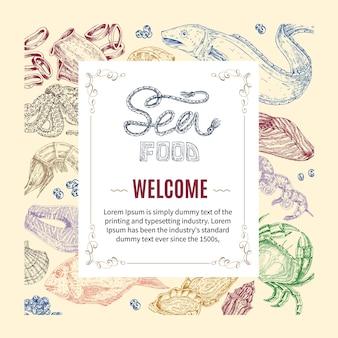 Owoce morza ręcznie rysowane zaproszenie