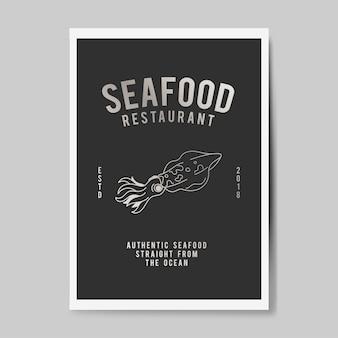 Owoce morza restauracja ilustracja logo