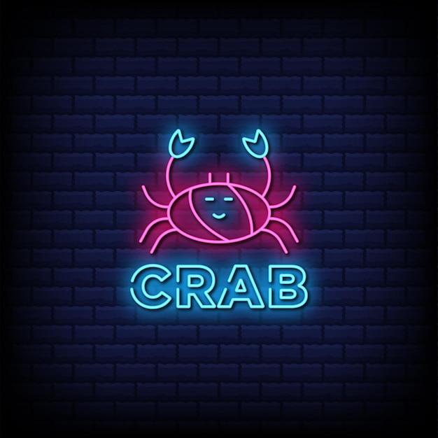 Owoce morza, tekst w stylu neonu crab