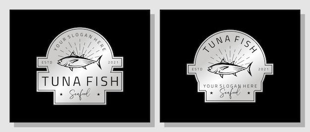 Owoce morza tuńczyk ryby świeży łosoś vintage luxury logo design