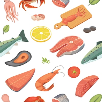 Owoce morza wzór zestaw żywności oceanu.
