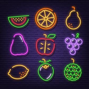 Owoce neonowe ikony