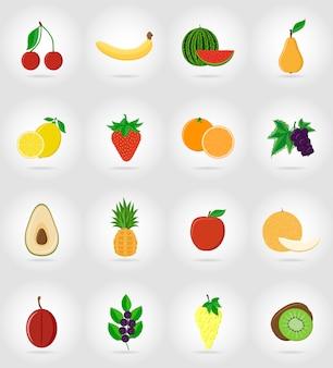 Owoce płaskie zestaw ikon z cienia.