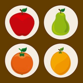 Owoce projekt na brązowym tle ilustracji wektorowych