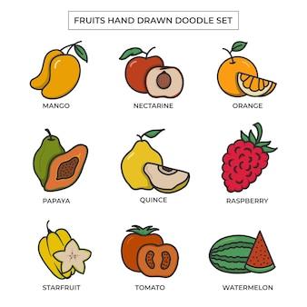 Owoce ręcznie rysowane doodle zestaw z płaskim kolorem