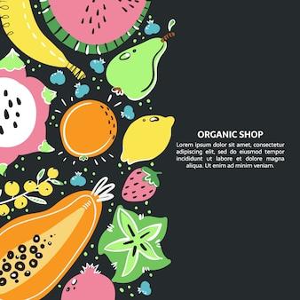 Owoce ręcznie rysowane transparent. zdrowy posiłek, dieta, odżywianie czy styl życia.