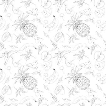 Owoce szkic wzór ilustracji