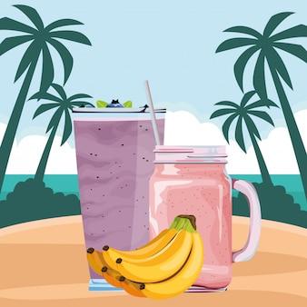 Owoce tropikalne i napój smoothie
