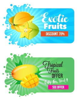 Owoce tropikalne karambol i banan mango
