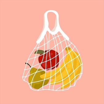 Owoce w siatkowej torbie. różnorodne świeże owoce tropikalne w torebce wielokrotnego użytku eco. ilustracja. koncepcja zero waste. dostawa zdrowej żywności do domu. zero odpadów, koncepcja bez plastiku.