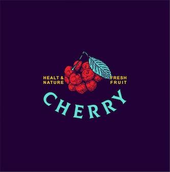 Owoce wiśni logo ręcznie rysowane stylu
