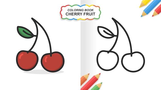 Owoce wiśni ręcznie rysowane kolorowanka do nauki. płaski kolor gotowy do druku