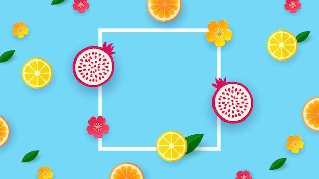 Owoce wyciąć papierowe kształty i liście