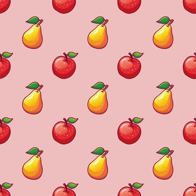 Owoce wzór jabłka i gruszki na tekstyliailustracje dojrzałego czerwonego jabłka i żółtej gruszki