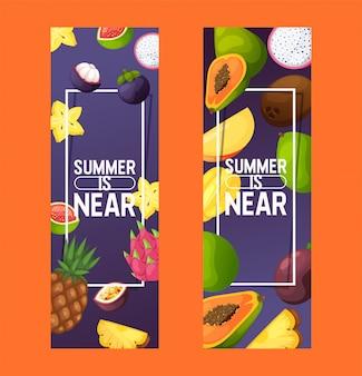 Owoce wzór owocowy banan jabłkowy i egzotyczna papaja