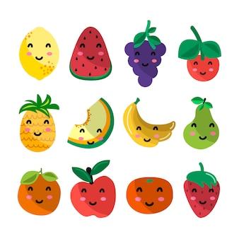 Owoce znaków kawaii