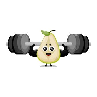 Owocowa gruszka fitness brzana urocza maskotka postaci