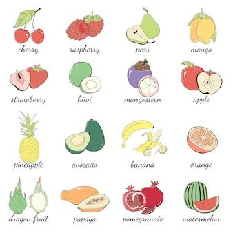 Owocowa kreskówka, ręka rysująca ilustracyjna kolekcja dla restauracyjnego menu