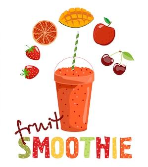 Owocowe smoothie. koktajl detoksykacyjny. zdrowy tryb życia. ilustracja. może być stosowany do menu, kawiarni, restauracji, baru. koktajle i owoce, z których jest zrobiony.