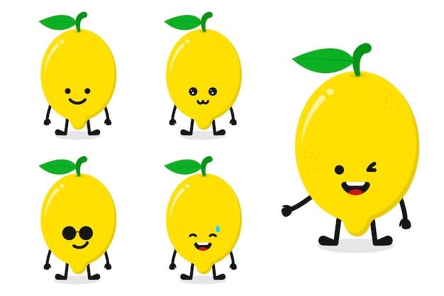 Owocowej cytryny charakteru wektorowy ilustracyjny ustawiający dla szczęśliwego wyrażenia